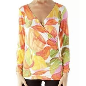 CAbi, Tulip Wrap Floral Long Sleeve Knit Top, L